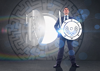 Image of business man holding a sword and shield in front of a vault