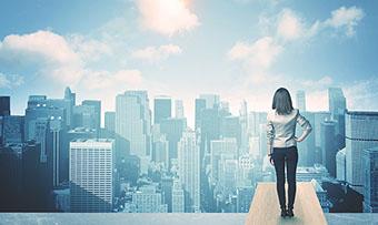 Woman looking at city